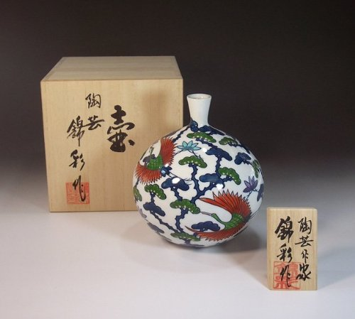 有田焼伊万里焼の高級陶器花瓶飾り壺|贈答品|ギフト|記念品|贈り物|松鶴藤井錦彩 B00I9TTO3I