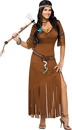 Adult Pocahontas Indian Wig (UHC Women's Indian Summer Outfit Pocahontas Movie Theme Halloween Fancy Costume, S/M (2-8))
