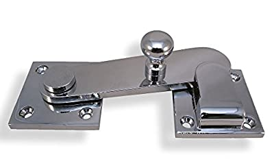 "Chrome Plated Heavy Duty Throw Latch with Keeper For Restroom Partition Door - ADA Compliant - 1-3/8"" Between Mounting Hole Centers"