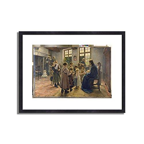 フリッツフォンウーデ Uhde, Fritz von「Let the Children Come to Me. 1884」インテリア アート 絵画 プリント 額装作品 フレーム:木製(黒) サイズ:L (412mm X 527mm) B00NI6QPRU 3.L (412mm X 527mm)|3.フレーム:木製(黒) 3.フレーム:木製(黒) 3.L (412mm X 527mm)