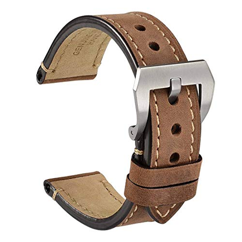 (WOCCI 22mm Watch Band,Dark Brown Saddle Style Crazy Horse Leather Watch Strap with Brushed Sliver Buckle)