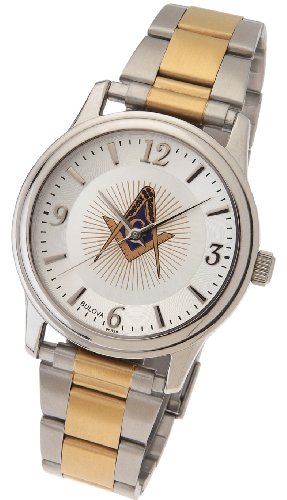 US Jewels And Gems Men's Stainless Steel & Gold Plated Bulova Masonic Blue Lodge Watch