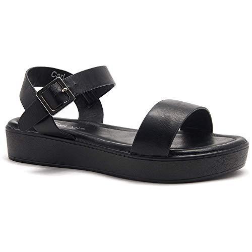 Black Platform Sandals - 7