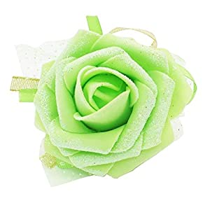 BeesClover 5pc/ lot Rose Wrist Corsage Ribbon Flower Wedding Party Bridesmaid Hand Crafted Flower Engagement Party Decorations Light Green 77