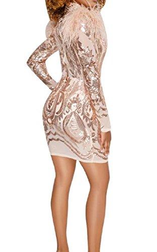Mini Dress Comfy Sleeve Solid Long Women's Bodycon Red Sequin Perspective S8U0qgwxUp