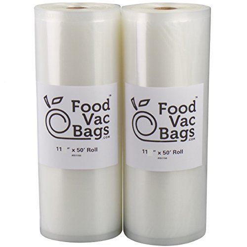 FoodVacBags Two 11X50 Rolls of Vacuum Sealer Bags 4 mil Embo