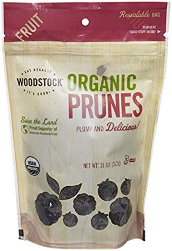 Woodstock Prunes, Organic, California Pitted, 11-Ounce (Pack of 3)
