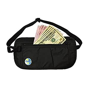 Merinte MONEY BELT with RFID PASSPORT HOLDER and CREDIT CARD SCANNING PROTECTION - A Travelers Must Have -