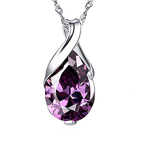 TOPSTARONLINE Silver Plated Purple Crystal Element Teardrop Amethyst Pendant