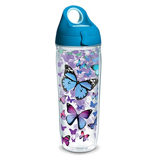 Tervis 1231948 Blue Endless Butterfly Tumbler with Wrap and Turquoise Lid 24oz Water Bottle, Clear (Water Tervis Bottle)