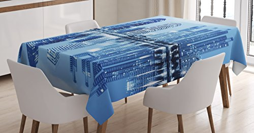 Blue Tablecloth by Ambesonne, Night Scene of City Buildings Architecture Twilight Water Reflection Metropolitan, Dining Room Kitchen Rectangular Table Cover, 60W X 84L Inches, Blue Light Blue - Table Metropolitan Dining Rectangular