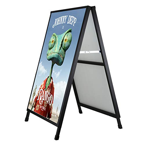 (Pilot Whale Double Sided Folding A-Frame Sidewalk Sign Holder 24'' x 36'' Heavy Duty Black Coated Steel Poster Display Board Stand for Outdoor Advertisement)