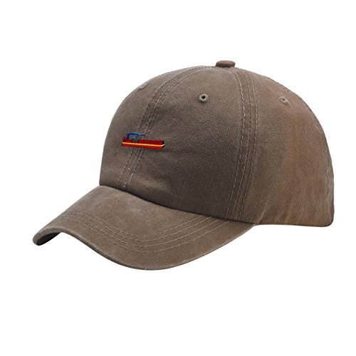 Guy-Hats Pontoon Khaki Washed Dyed Peaked Hat Embroidered Logo Adjustable Fish (Over Logo Infant Beanie)