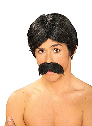 Burt Black Wig and Moustache