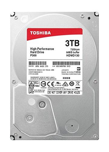 Toshiba HDWD130XZSTA 3TB Internal SATA Hard Drive for Desktops Black/Silver