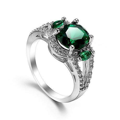 - Waldenn 9mm9mm Round Cut Emerald CZ Band Womens 925 Silver Anniversary Ring Size 6-10 | Model RNG - 27288 | 8