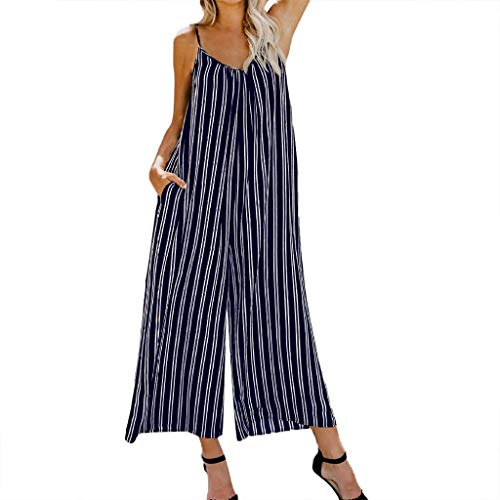Women Casual Striped High Waist Long Summer Jumpsuit Fashion Camisole Rompers Teresamoon Navy