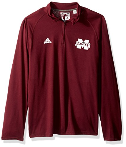 - adidas NCAA Mississippi State Bulldogs Adult Men Sideline Alternate Logo Ultimate L/S 1/4 Zip Pullover, XX-Large, Maroon