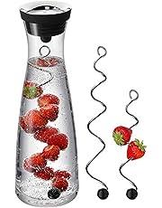 WMF Basic–Jarra de Agua en Negro/Color De La Tapa: Plata 1,0l Altura 29cm Closeup-Set de Cierre Cristal Cromargan Acero Inoxidable y Dos Fruta Brochetas
