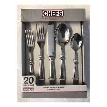 CHEFS Stainless-Steel Bistro Flatware Set 20-Piece  sc 1 st  Amazon.com & Amazon.com | CHEFS Stainless-Steel Bistro Flatware Set 20-Piece ...
