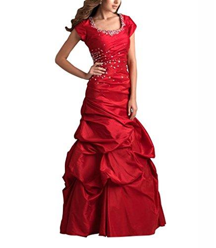 Rock Rot Taft Asymmetrische GEORGE Kleid Pick Perlen BRIDE Abschlussball quadratischen Ausschnitt Up Mieder Taille Rot aHPZqwP