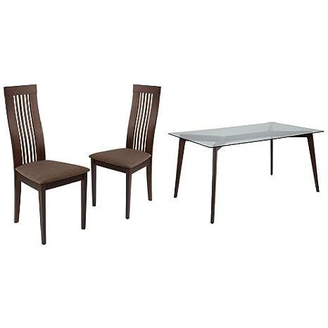 Amazon Com Flash Furniture Arcadia 5 Piece Espresso Wood Dining