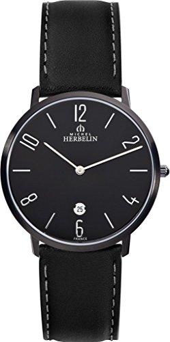 Men's Watch Michel Herbelin - 19515/N24 - CITY - Quartz - Date - Leather Strap - Black