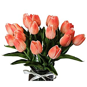 ALIERSA 10-Heads Artificial Flowers PU Mini Real Touch Tulip Bouquets (Gradient Coral) 75