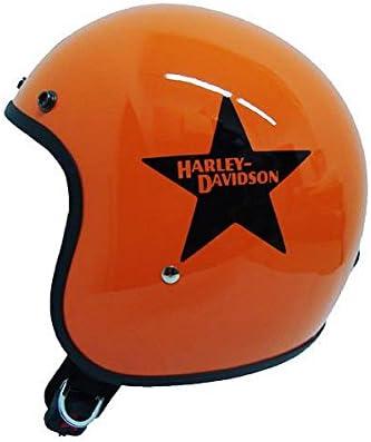 Casco Jet Moto Piccolo Leggero Omologato Arancio Logo Adesivo Harley Davidson Taglia XS