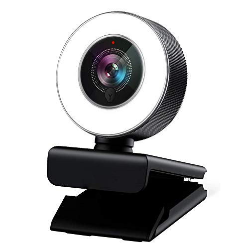 Streaming Webcam with Ring Light, Autofocus AF 1080P Web Camera Built in Adjustable Ring Light and Microphone for Video Recording, Conference and Live Broadcast