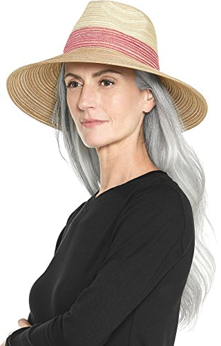 Lined Fedora - Coolibar UPF 50+ Women's Down-Turned Brim Fedora - Sun Protective (One Size- Natural/Red)