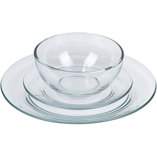 12-piece Clear Glass Plate and Bowl Dinnerware Set Service for 4  sc 1 st  Kitchen Products & 12-piece Clear Glass Plate and Bowl Dinnerware Set Service for 4 ...