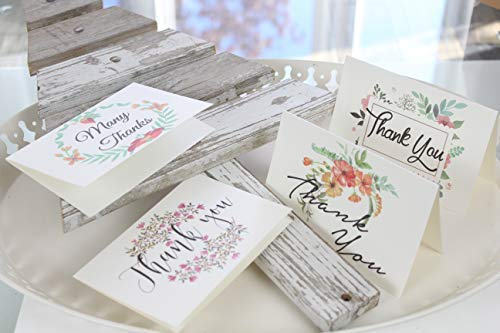 Thank You Cards Pack Of 100 - Blank Thank You Notes - Floral Water Colors - 4 X 6 Inches Thick White Note And Envelope - Personal And Business Use - Wedding And Baby Showers Photo #9
