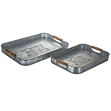 Galvanized Farmhouse Metal Tray With Two Handles Each Sold Separately  Country Kitchen Serving Tray Ottoman (