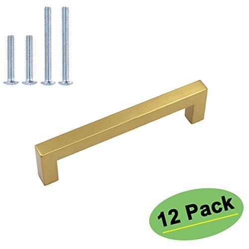 homdiy Brushed Brass Cabinet Pulls Gold Drawer Pulls 12 Pack 3-3/4(96mm) - HDJ12GD Gold Kitchen Hardware Kitchen Cabinet Handles Brushed Gold Cabinet Pulls Square