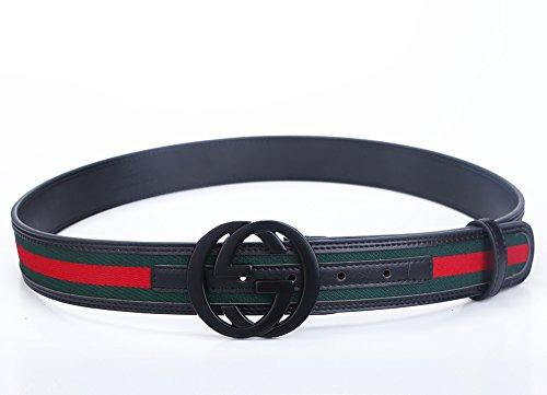 Godisdesign Men's Big G Buckle 38-mm Classic Green / Red / Green Leather Belt (115cm/45.3inch (40-42), Black Buckle)