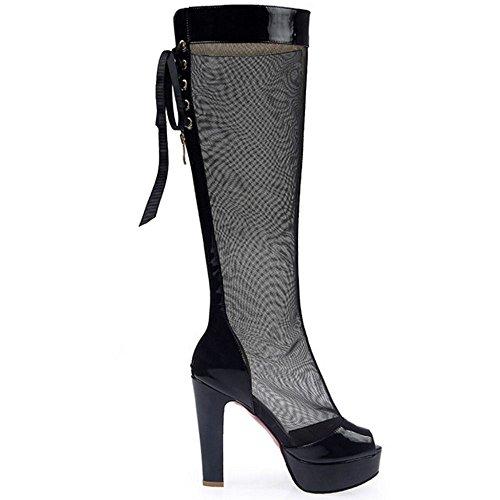 Peep Toe Platform Sandals TAOFFEN Black Women Summer Shoes 6wTRf