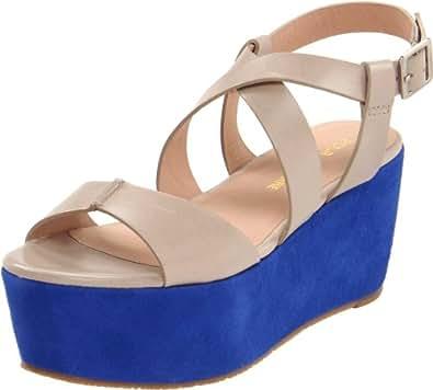 Pour La Victoire Women's Noele Platform Sandal, Taupe/Blue, 6.5 M US