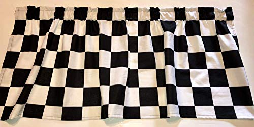 Window Curtain Valance Checkered Flag Race Car Sale 43 Wide x 15 Long