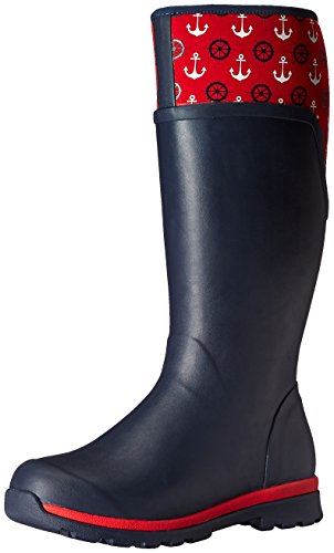 Muck Boots Cambridge Tall Women's Rain Boot Navy With Red Anchors