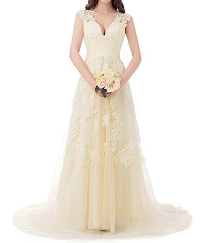 V Ausschnitt Brautjungfern Ballkleider Hochzeit Damen Lang Gelb Beyonddress Tüll Kleider Spitze Abendkleider Brautkleid wTqg486