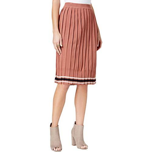 JOA Women's Pleated Rib Knit Striped Soft Sweater Skirt, Pink l