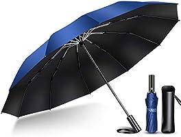 【2020年強化版 12本骨】 折りたたみ傘 自動開閉 軽量 折り畳み傘 メンズ 大きい 晴雨兼用 台風対応 梅雨対策 大きい 超撥水 おりたたみ傘 210T高強度グラスファイバー 収納ポーチ付き (ブラック)