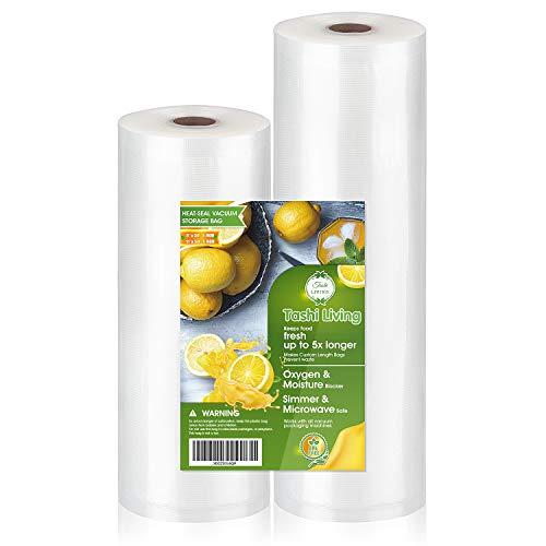 TashiLiving 8″ x 50′ and 11″ x 50′ Multipack Vacuum sealer Bags for Food Saver, 4mil BPA-Free, Freezer, Sous Vide