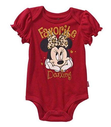 Disney Minnie Mouse Red Favorite Darling Baby Girls Bodysuit (24 Months, (Baby Girls Favorite Cotton)