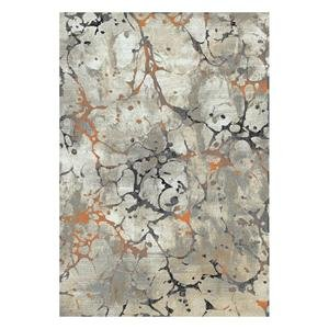 Central Oriental Polyester - Central Oriental 9707.61.67 Rainier Seattle Polypropelene & Polyester Blend Rug44; Grey & Brick - 7 ft. 10 in. x 9 ft. 10 in.