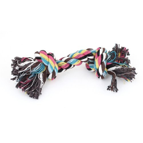 DealMux Family Dogs Pets Braided Rope Bone Chew Tug Toy Tool 18cm Length Multicolor ()
