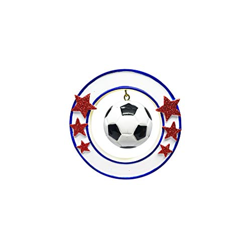 Personalized 3D Soccer Ball Christmas Tree Ornament 2019 - Athlete Ball Dangle Round Frame Stars Hobby College Profession Score Grand-Son Grand-Daughter Gift Year Team FIFA - Free Customization