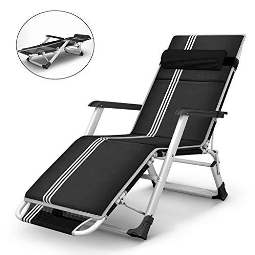 ZHEN GUO Heavy Duty Zero Gravity Chair Brethable, Portable Camping Bed Folding Lounge Recliner, Black Patio Chaise Reclining Lounger for Outdoor, Pool (Size : Padded)