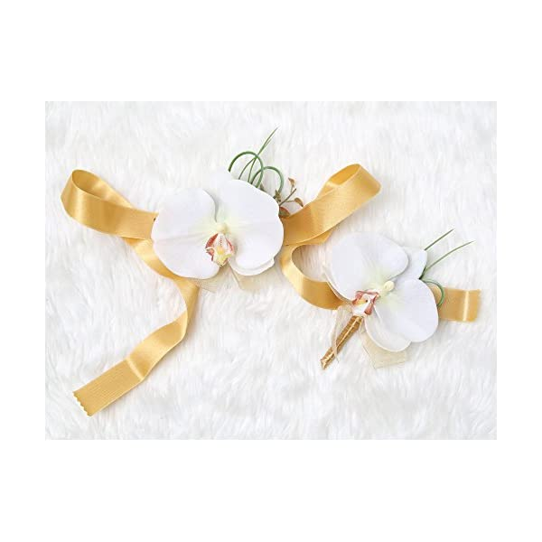 Tropical Wedding Prom Wrist Corsage Phalaenopsis Orchids and Boutonniere Set (Gold theme)